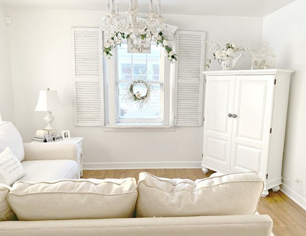 living room with cut down armoire