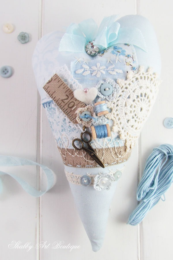 Creating a stuffed heart project at Shabby Art Boutique