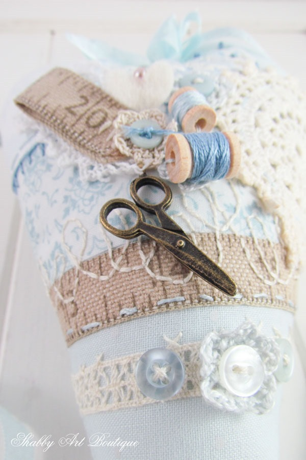 Finish your stuffed heart with pretty embellishments - a slow sewing project at Shabby Art Boutique