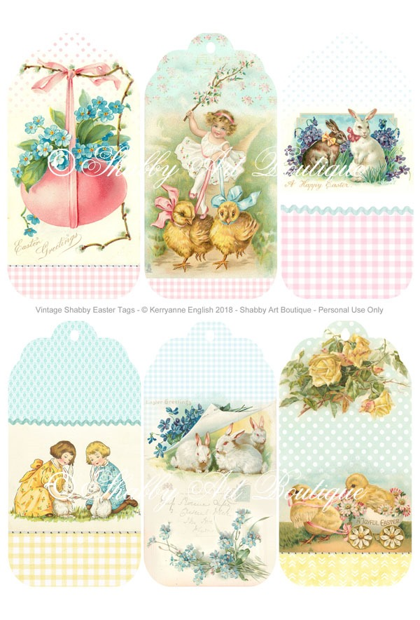 Free printable vintage Easter tags from Shabby Art Boutique