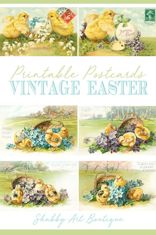 Printable vintage Easter postcards from Shabby Art Boutique - click to download
