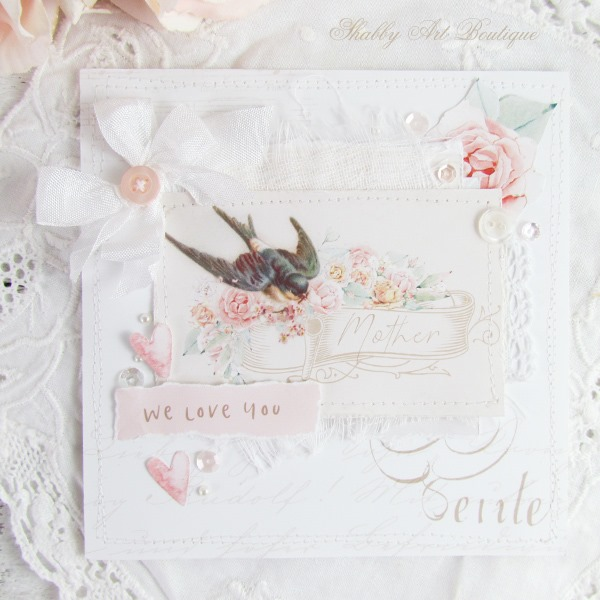 Tutorial for making this layered Mothers Day Card with free printable from Shabby Art Boutique