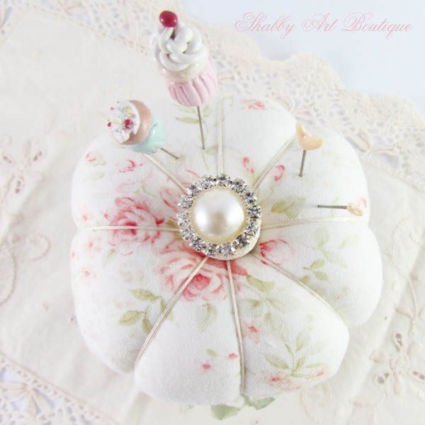 A simple pincushion tutorial using a tin can and crafting scraps from Shabby Art Boutique - close up of top
