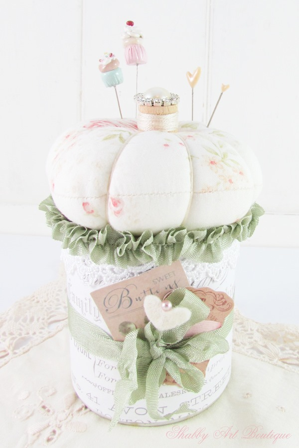 A simple pincushion tutorial using a tin can and crafting scraps from Shabby Art Boutique