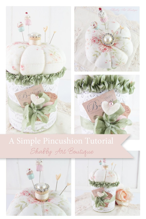 A simple pincushion tutorial with step-by-step photo instructions from Shabby Art Boutique