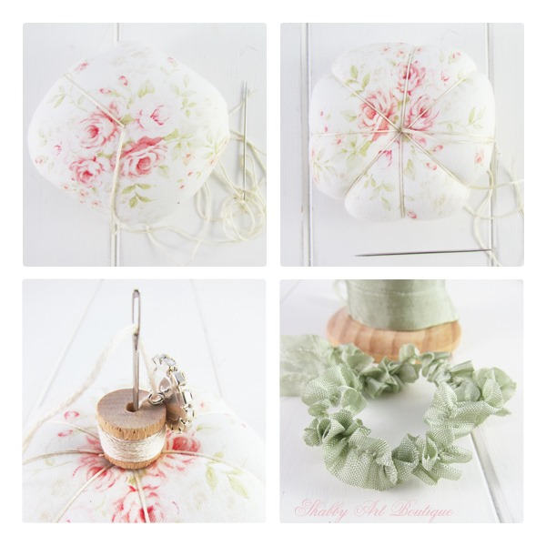 A simple step-by-step pincushion tutorial by Shabby Art Boutique