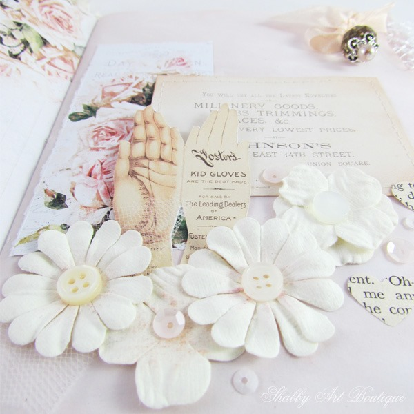 Close up of page in A Brides Diary junk journal made using the May Kit from The Handmade Club at Shabby Art Boutique