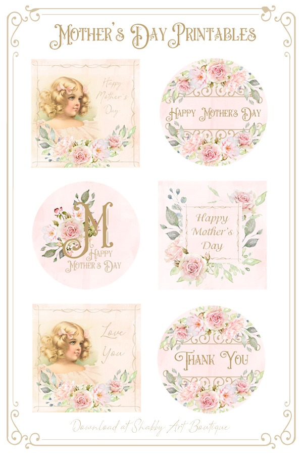 picture regarding Free Printable Mothers Day Tags known as Printable Victorian Moms Working day Reward Tags - Shabby Artwork Boutique