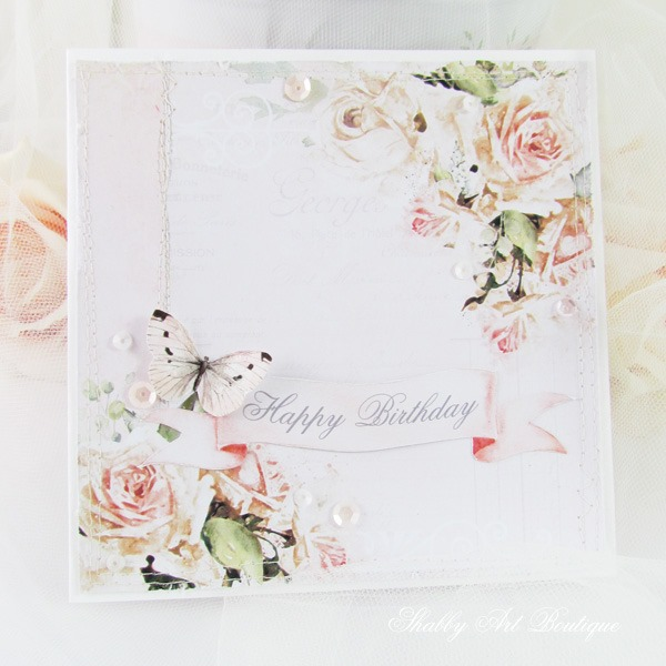 Handmade card from the Romantic Collection - May kit for the Handmade Club at Shabby Art Boutique