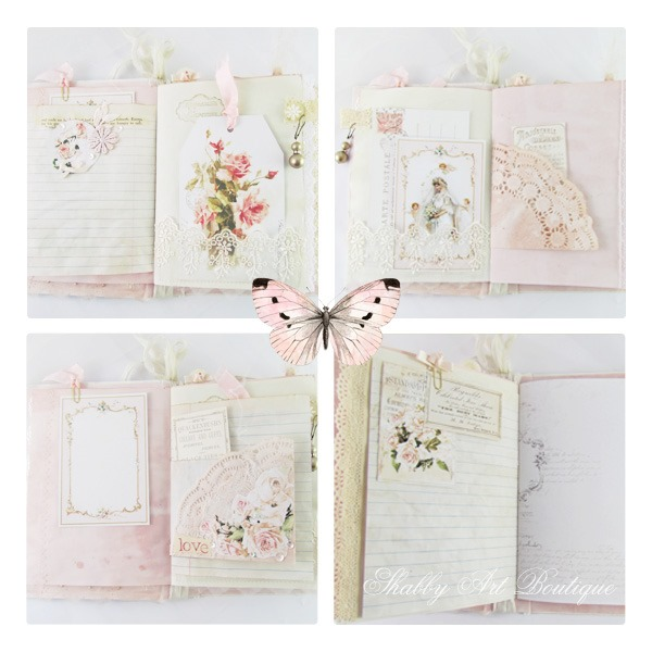 Pages from the Brides Diary junk journal - made using the May Kit from the Handmade Club at Shabby Art Boutique