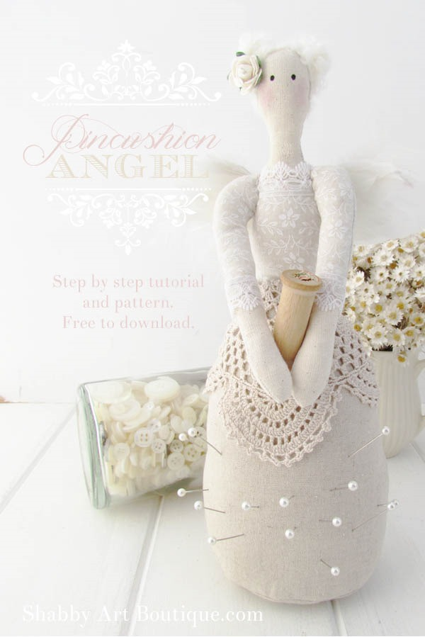 Pincushion Angel Tutorial and Pattern available from Shabby Art Boutique