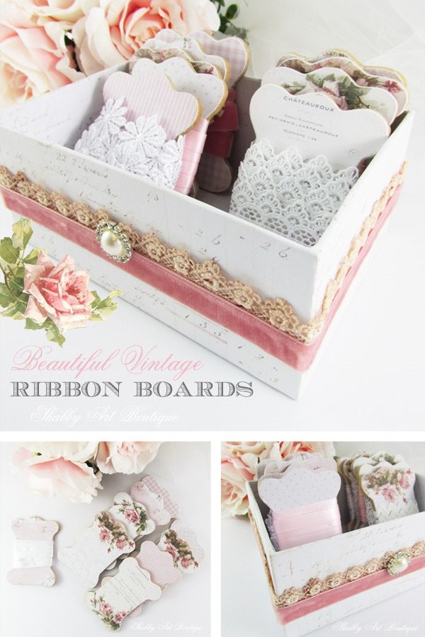 Beautiful ribbon storage for your craft room by Shabby Art Boutique