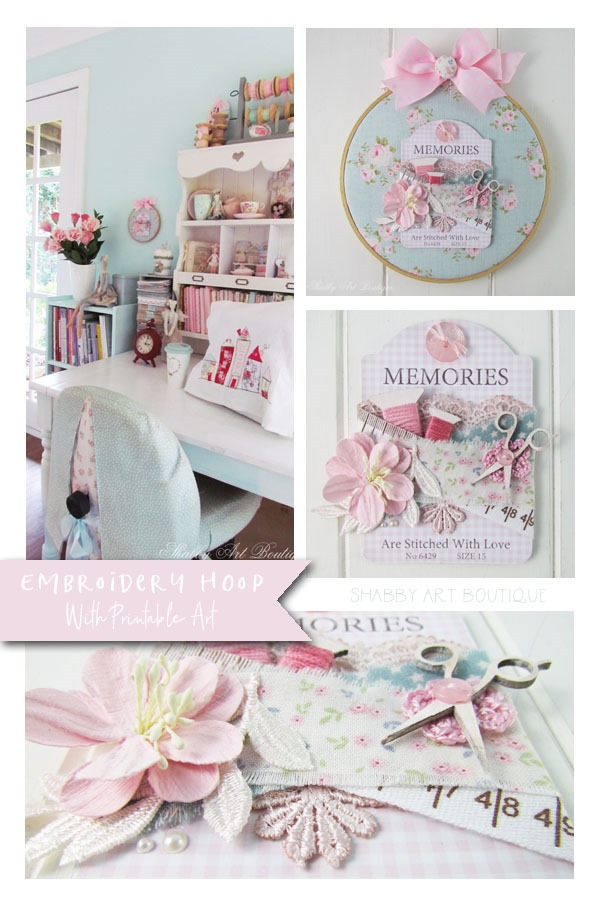 How to make a pretty shabby embroidery hoop project with a free printable button card from Shabby Art Boutique