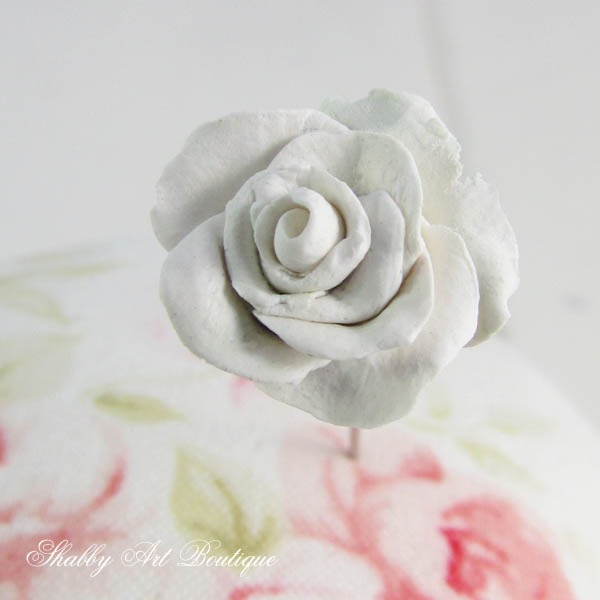 How to make decorative rose pin toppers for your pincushions by Shabby Art Boutique