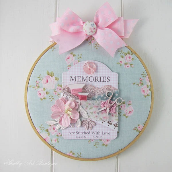 Make a shabby embroidery hoop art using this pretty printable button card from Shabby Art Boutique