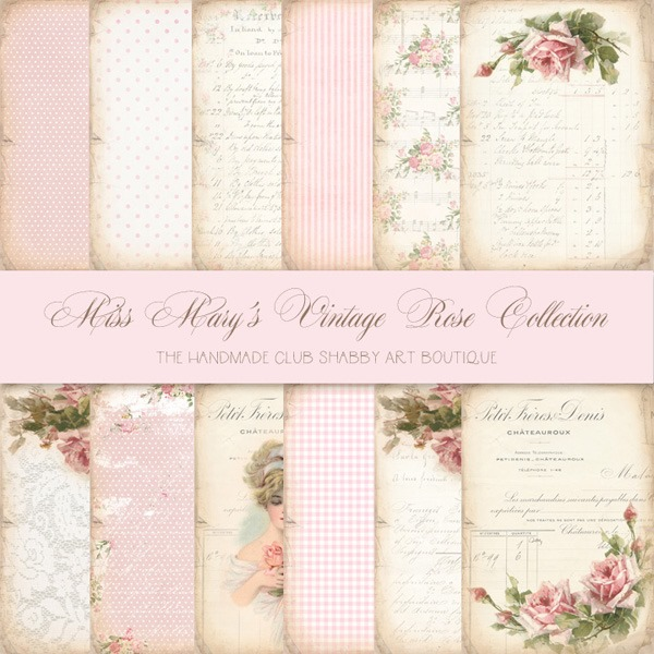 The Handmade Club - Miss Marys Vintage Rose Collection - papers600