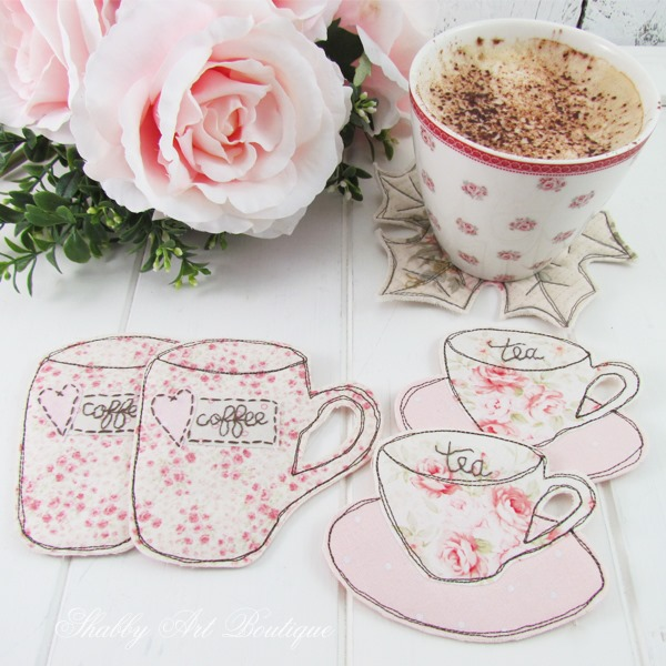 How to make fabric teacup and coffee my coasters by Shabby Art Boutique