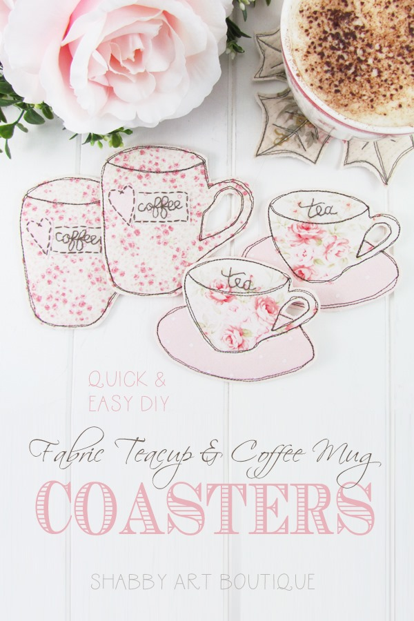 Quick and easy DIY fabric teacup and coffee mug coasters tutorial by Shabby Art Boutique