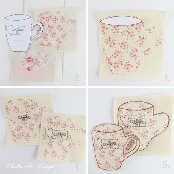 Step-by-step instructions for making teacup and coffee myg coasters - Shabby Art Boutique