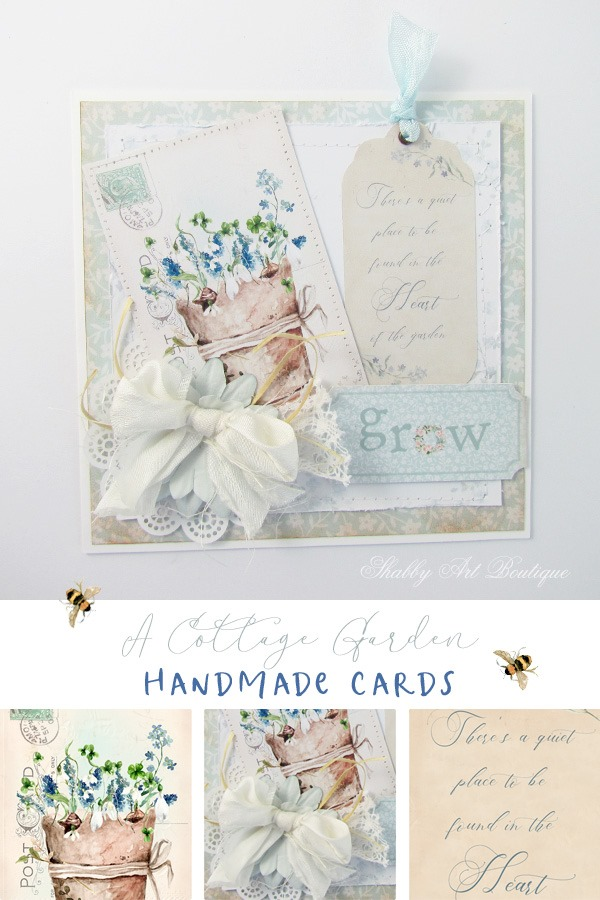 Tutorial for handmade cards - A Cottage Garden kit - the Handmade Club at Shabby Art Boutique