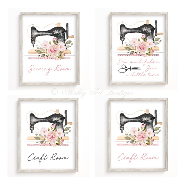 Craft and Sewing Room printables from Shabby Art Boutique