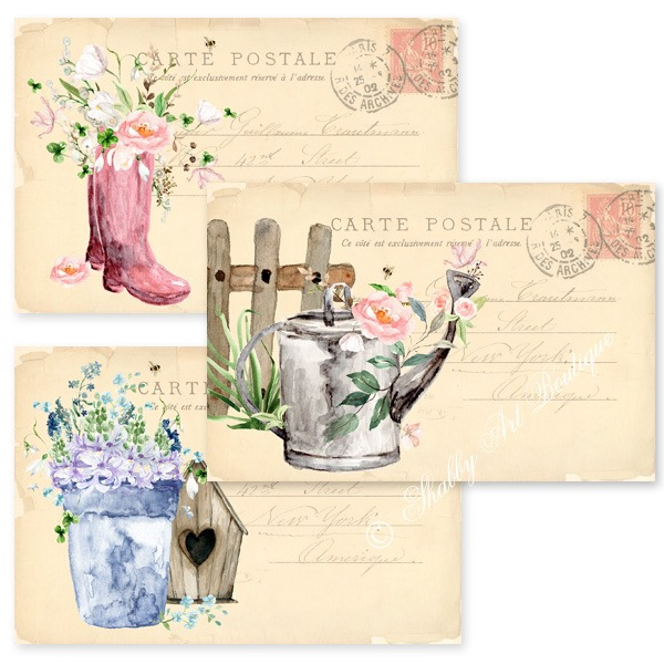 Printable Cottage Garden Postcards from Shabby Art Boutique