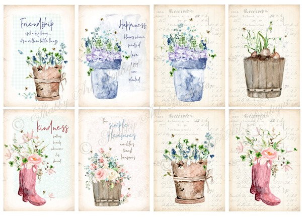 Printable Cottage Garden Tags or Journal Cards from Shabby Art Boutique