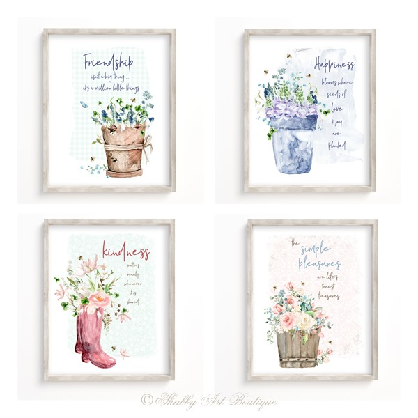 Printable Cottage Garden inspirational quotes from Shaby Art Boutique