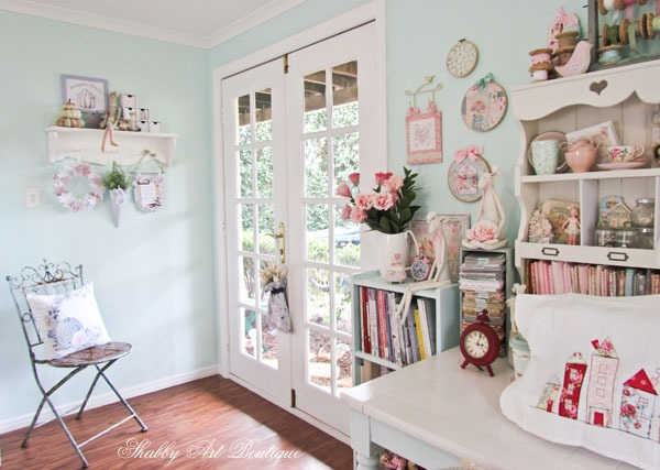 Craft room with fall decor at Shabby Art Boutique