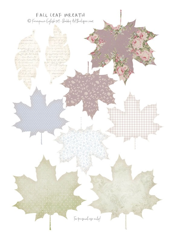 Free printable fall leaf set for DIY paper wreath by Shabby Art Boutique
