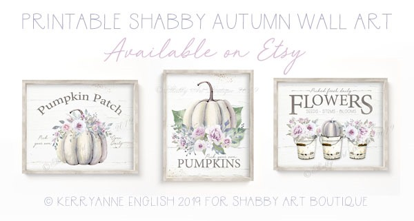 Printable shabby autumn wall art available on Etsy from Shabby Art Boutique