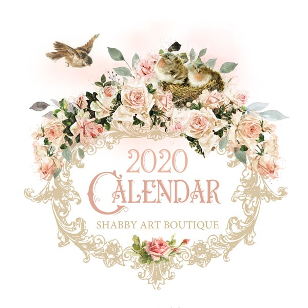 Free printable vintage 2020 Calendar from Shabby Art Boutique