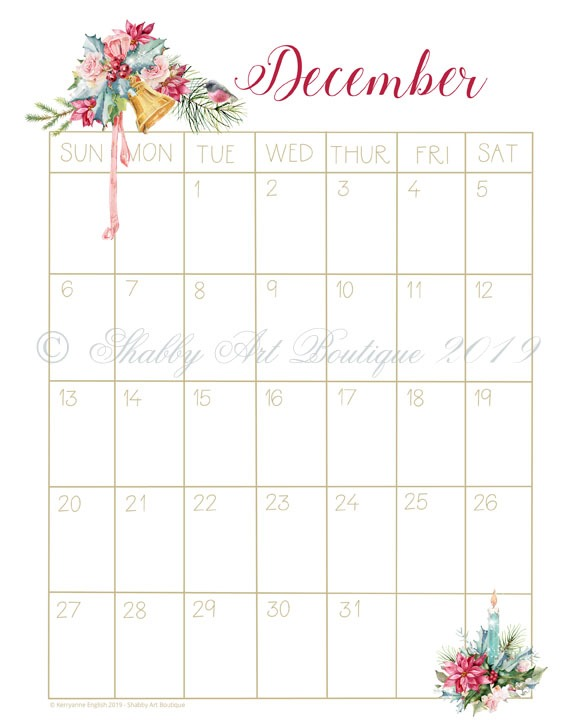 Sample of free printable vintage 2020 Calendar from Shabby Art Boutique