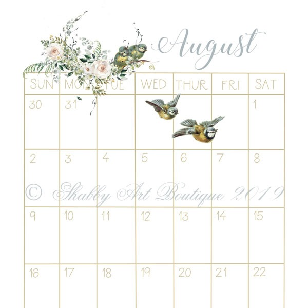 Sample of printable vintage 2020 Calendar from Shabby Art Boutique