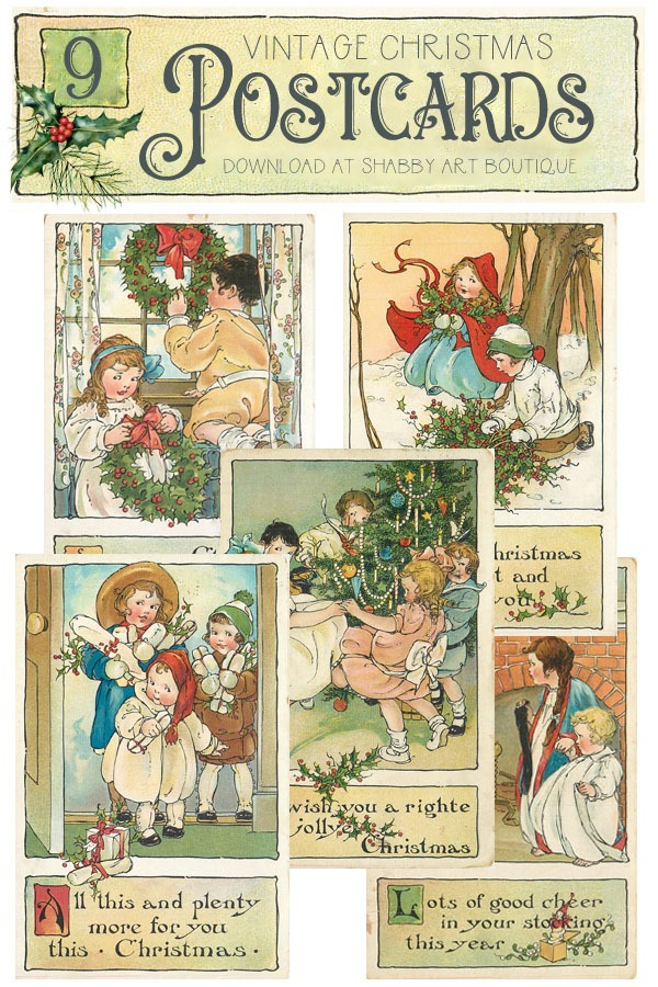 9 beautiful vintage Christmas postcards to download from Shabby Art Boutique