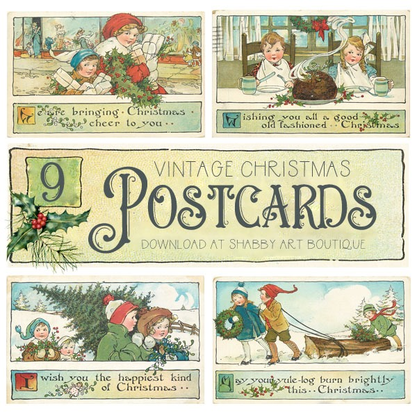 9 beautiful vintage Christms postcards to download from Shabby Art Boutique