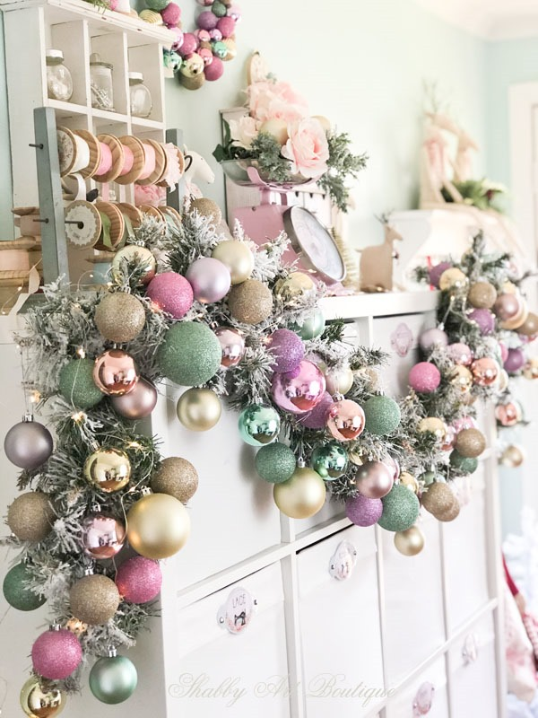 Christmas in the Shabby Art Boutique craft room - a pretty garland of pastel baubles