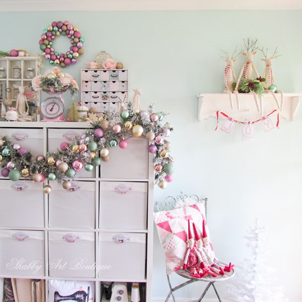 Christmas in the Shabby Art Boutique craft room - craft storage