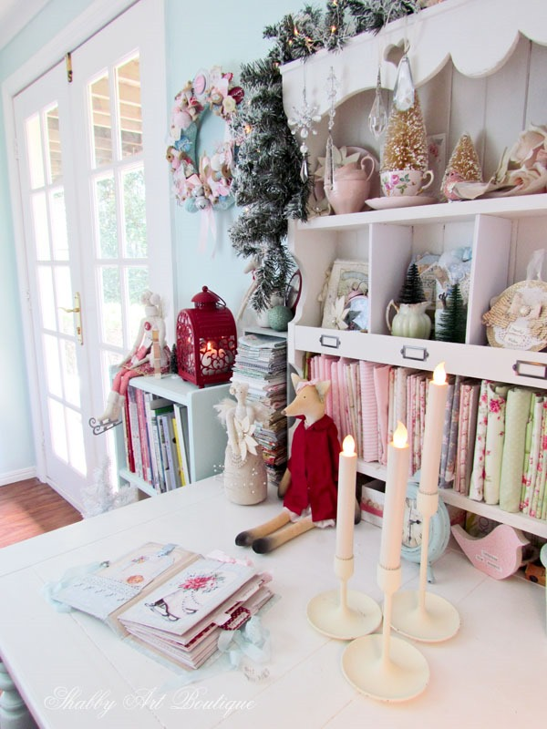Christmas in the Shabby Art Boutique craft room - the sewing corner close up