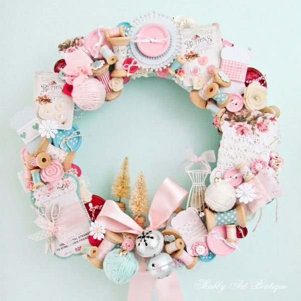 DIY Christmas wreath for Christmas craft or sewing room - get the tutorial and free printable at Shabby Art Boutique