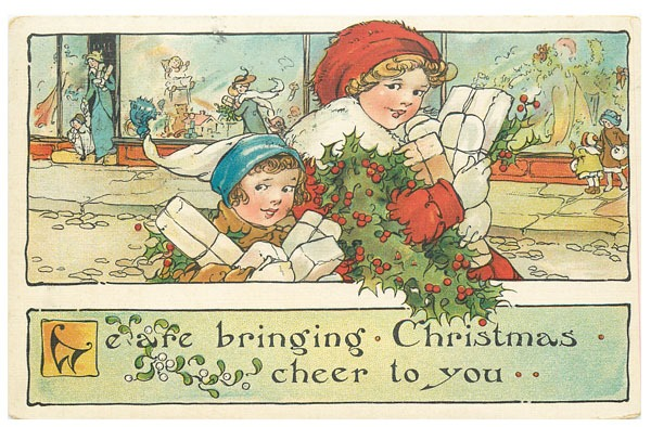 Download this set of 9 free printable vintage Christmas postcards at Shabby Art Boutique