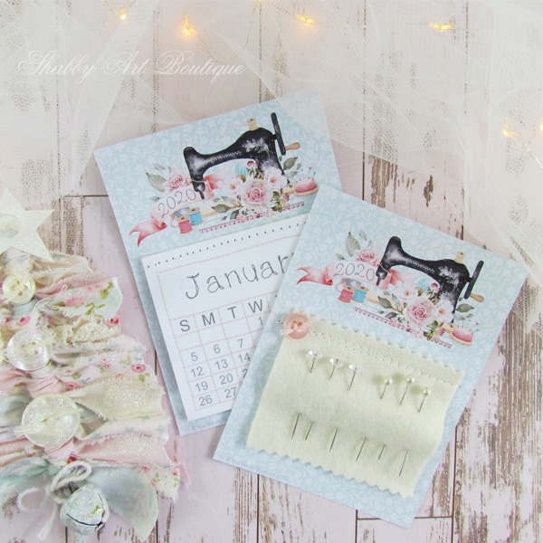 Free printable 2020 mini calendar and needle keeper from Shabby Art Boutique