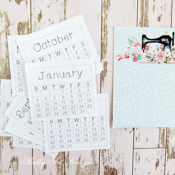 Quick and easy to make 2020 mini calendar from Shabby Art Boutique