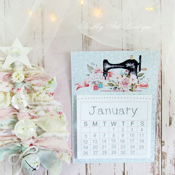 Sweet crafting mini 2020 Calendar - free download from Shabby Art Boutique