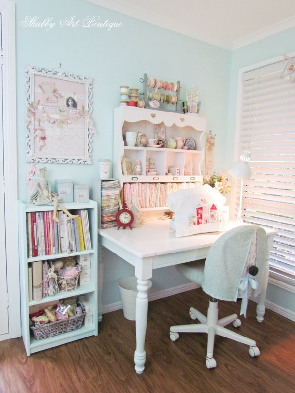 A dedicated sewing corner in the Shabby Art Boutique craft room