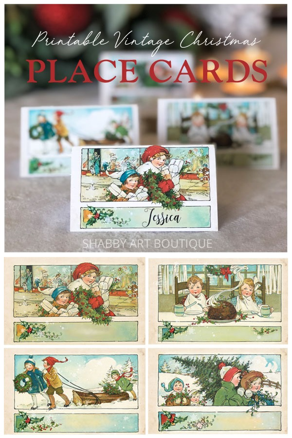Free printable vintage Christmas placecards from Shabby Art Boutique
