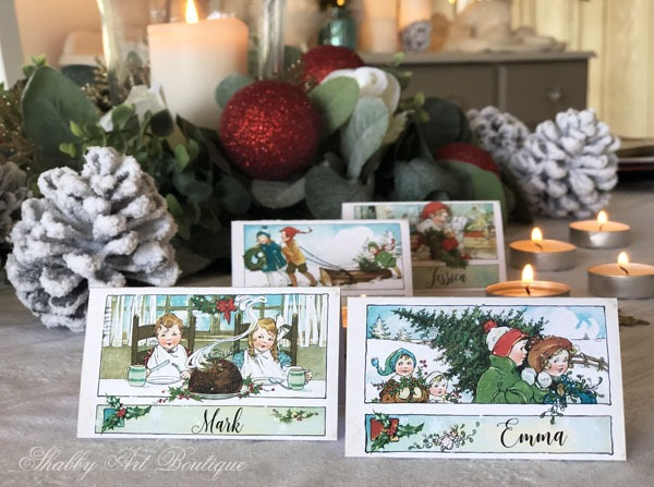 Printable vintage Christmas placecards from Shabby Art Boutique - sample 1