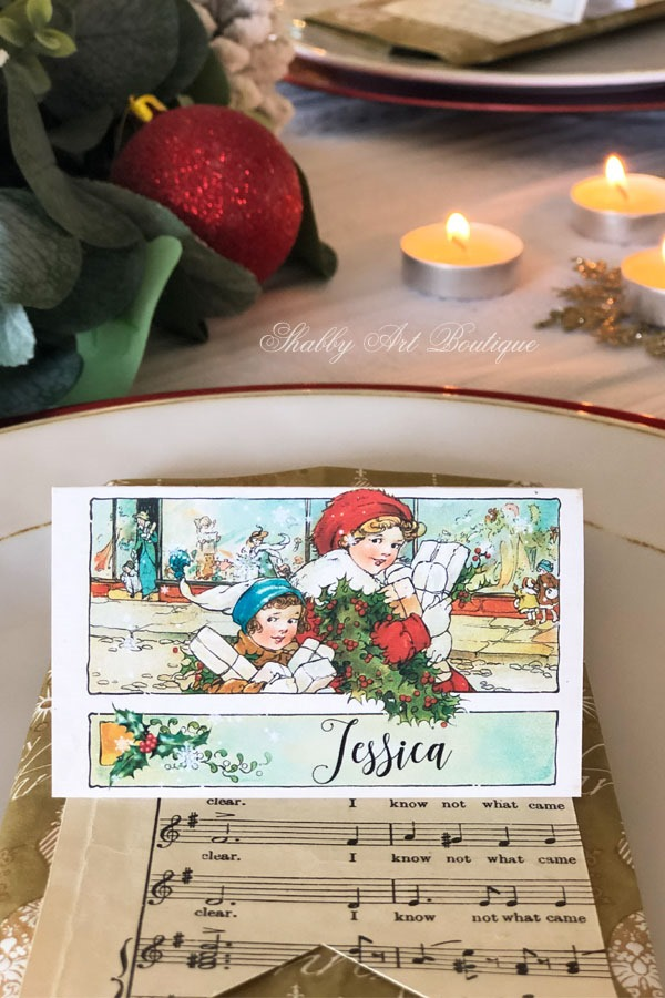 Printable vintage Christmas placecards from Shabby Art Boutique - sample 2
