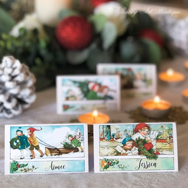 Printable vintage Christmas placecards from Shabby Art Boutique - sample 3