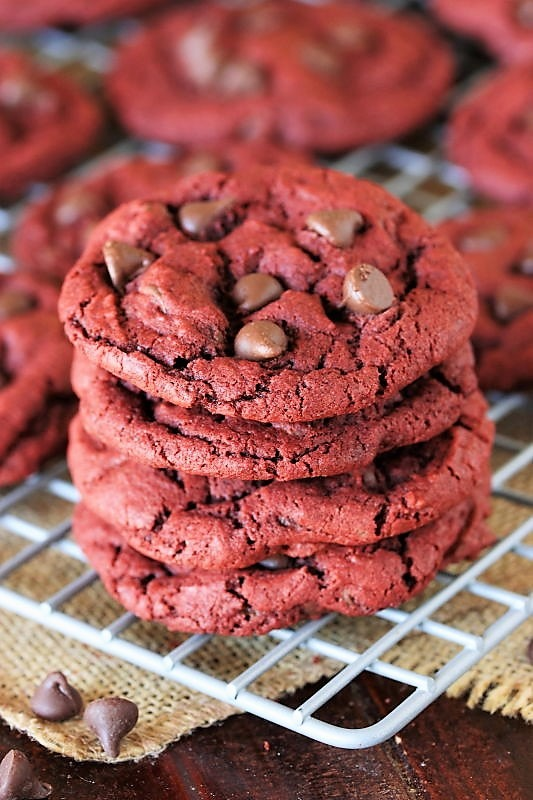 Red-Velvet-Chocolate-Chip-Cookies-Stack-on-Cooling-Rack-Image 3